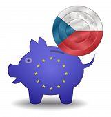 Piggy Bank And Euro European Czech