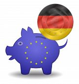 Piggy Bank And Euro European Germany