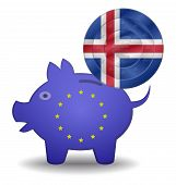 Piggy Bank And Euro European Iceland