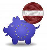 Piggy Bank And Euro European Latvia