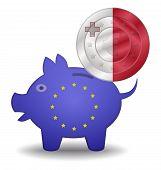Piggy Bank And Euro European Malta