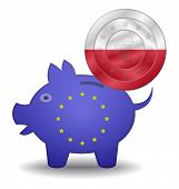 Piggy Bank And Euro European Poland