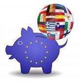 Piggy Bank And Euro European Spain