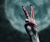 Vampire Bloody Hand With Gesture Peace Sign