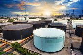 Oil Storage Tank In Petrochemical Refinery Industry Plant In Petroleum And Heavy Industrial Plant Wi
