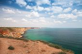 Bulgaria, Black Sea Coast. Coastal Landscape Of Kaliakra Headland With Cloudy Sky