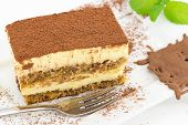 stock photo of sponge-cake  - delicious cake with mascarpone cream and sponge cake soaked in coffee - JPG