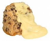stock photo of custard  - Spotted Dick Sponge Pudding With Custard - JPG