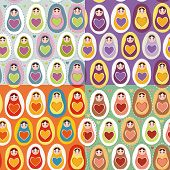 Set Of Four Seamless Pattern Russian Dolls Matryoshka. Vector