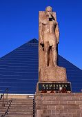 Ramesses statue and Pyramid Arena, Memphis.