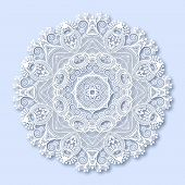 Circle lace ornament, round ornamental geometric doily pattern,