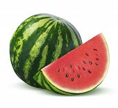 foto of watermelon slices  - Whole watermelon and slice isolated on white background as package design element - JPG