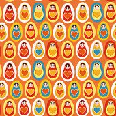 Seamless Pattern Orange Blue Red Yellow Russian Dolls Matryoshka. Vector