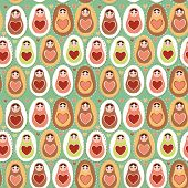 Seamless Pattern Russian Dolls Matryoshka Mint Pink Brown. Vector