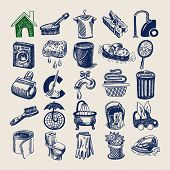 25 hand drawing doodle icon set, cleaning and hygiene service