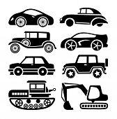 car icon, black transport vector set