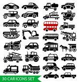 30 car icons set, black auto web pictogram collection