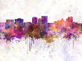 El Paso Skyline In Watercolor Background