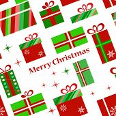 Collection of vector colorful Christmas present boxes. Holiday pattern