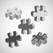 Vector illustration made from four grey puzzle pieces