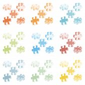 Vector illustration made from four colorful puzzle pieces