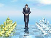 Businessman defeat - 3D render