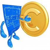 Home Construction Blueprint With Gold Coin