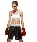 Girl with boxing gloves, mitt, mitten