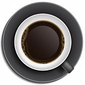 Black Cup Of Coffee On Saucer
