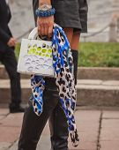 Detail Of Bag Outside Cavalli Fashion Shows Building For Milan Women's Fashion Week 2014