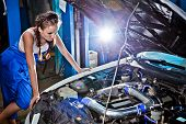 Female Auto Mechanic Repairing A Car