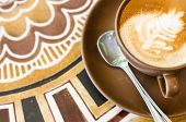 picture of latte  - latte coffee cup on beautiful table background - JPG
