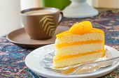 Orange Cake And Late Coffee Cup