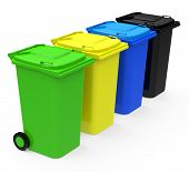 the garbage cans