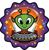 Cute Cartoon Alien in UFO