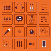 DJ, sound, and music flat icons set