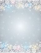 Grey Background With  Frame Of Snowflakes,  Vector