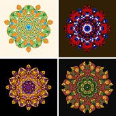 Indian ornament, kaleidoscopic floral pattern, mandala. Set of four ornament lace.