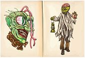 Monster Head And Corpse - An Hand Drawn Vector