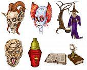 Halloween Avatars - An Hand Drawn Full Sized Illustrations, Pack