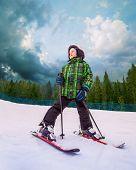 Little Skier In Mountain Sky Resort
