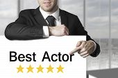 Businessman Pointing On Sign Best Actor Golden Rating Stars