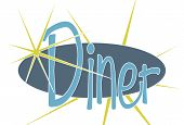 image of diners  - A retro style diner sign in blue and yellow - JPG