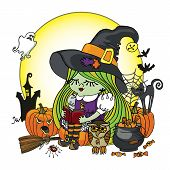 picture of bat wings  - Little Halloween Witch girl reading book - JPG