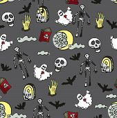 Halloween seamless pattern.Death, cemetery