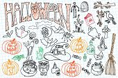 Halloween icons set with text.Doodles sketchy notepaper