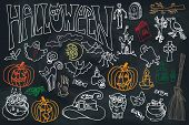 Halloween icons set with text.Doodles sketchy  chalkboard