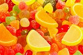 Colorful jellies and sweets close up