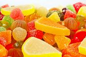 Colorful fruity candies  closeup