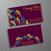 Elegant business card with bouquet of flowers